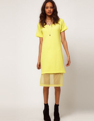 ASOS Midi T-shirt Dress With Chiffon Underskirt