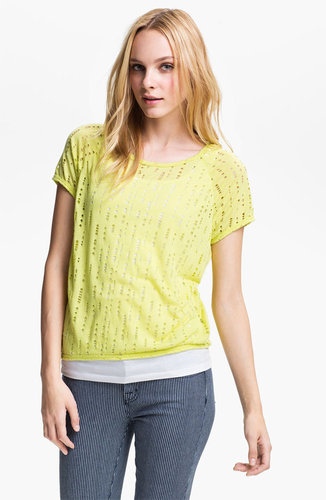 Two by Vince Camuto Perforated Double Layer Tee