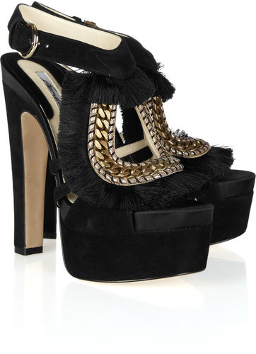 Brian Atwood Blanco fringe and chain-trimmed suede sandals