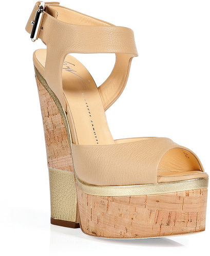 Giuseppe Zanotti Beige and Gold Cork Wedge Sandals