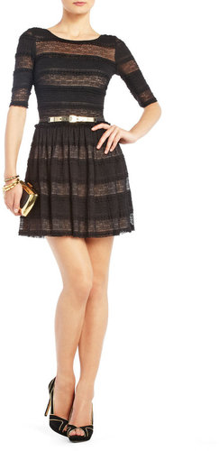 BCBGMAXAZRIA Loue Lace-Stripe Dress