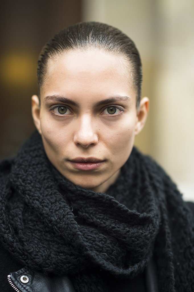 A gel-slicked ponytail and a flick of black liner across the lash line are all you need to create Lary Arcanjo's simply sophisticated look. Source: Le 21ème | Adam Katz Sinding