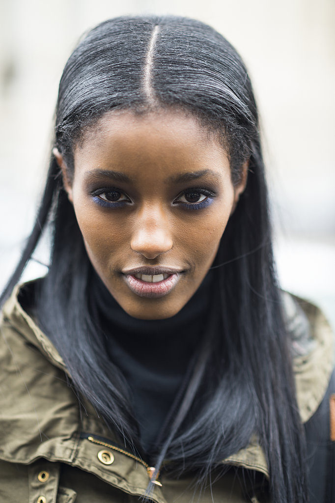 Model Senait Gidey made a statement in rich blue shadow encircling her eyes.   Source: Le 21ème | Adam Katz Sinding