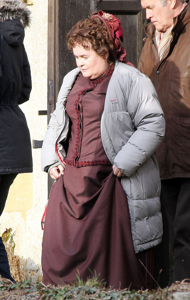 Susan Boyle made her acting debut on the set of The Christmas Candle on Thursday in Oxfordshire, England.
