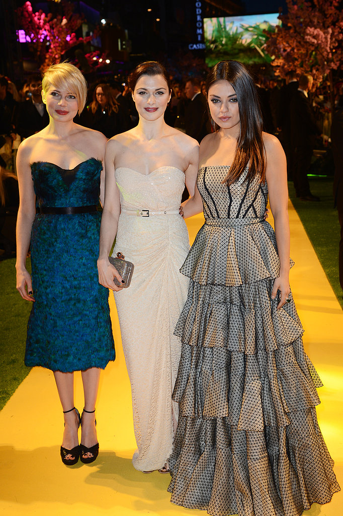 Michelle Williams, Rachel Weisz, and Mila Kunis linked up for the UK premiere of Oz the Great and Powerful.