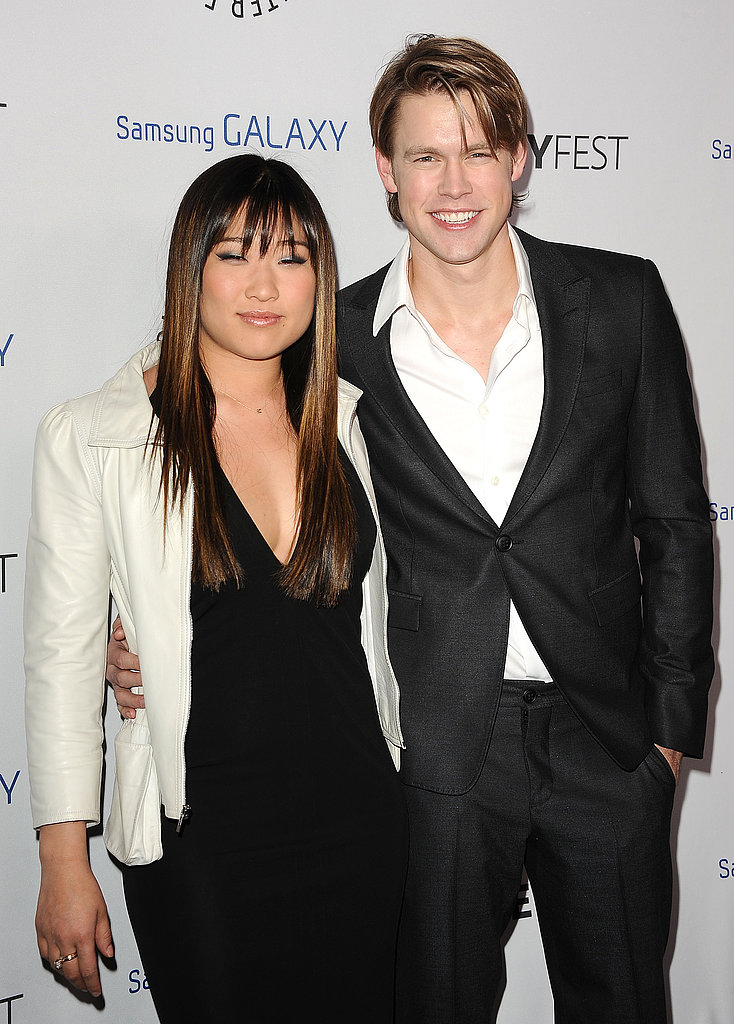 Jenna Ushkowitz and Chord Overstreet smiled for the cameras.
