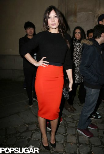 Daisy Lowe attended the H&M fashion show during Paris Fashion Week in February.