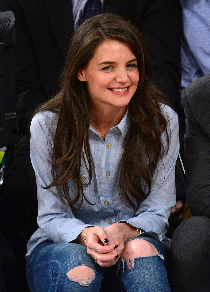 Katie Holmes Has a Ball Cheering On the Knicks Courtside