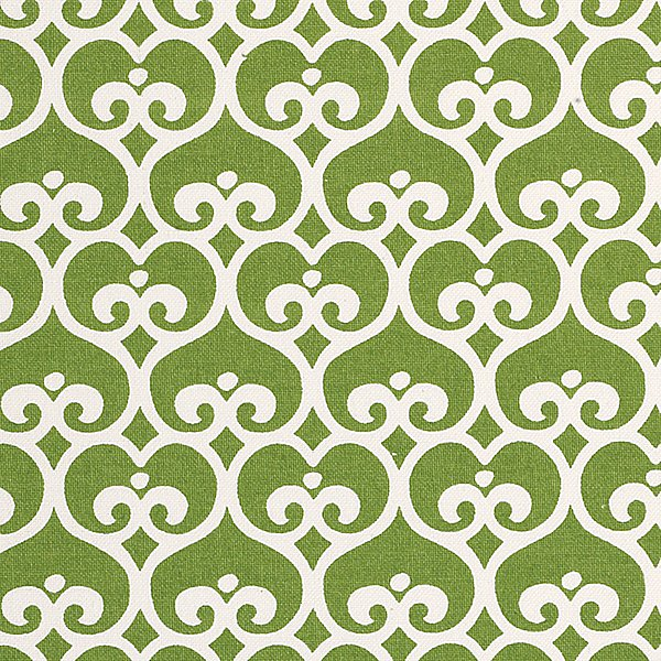 Refresh an old piece of furniture in a cheerful color and new fabric like this green spade fabric ($50 per yard).