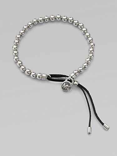 Michael Kors Leather Accented Beaded Bracelet/Silvertone