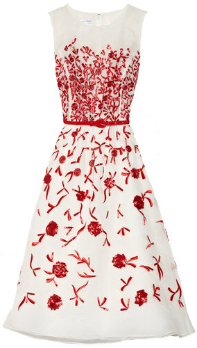 Oscar de la Renta Embroidered silk-organza dress