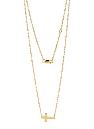 Mini Horizontal Cross Necklace in Gold Vermeil - by Jennifer Zeuner