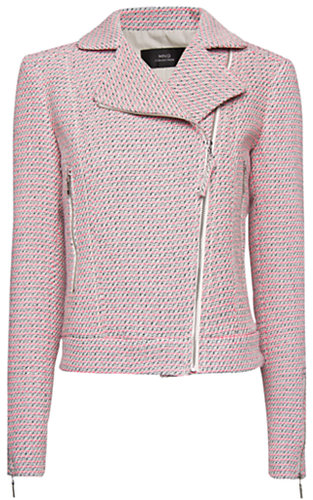 Mango Boucle Biker Jacket, Flourine Pink