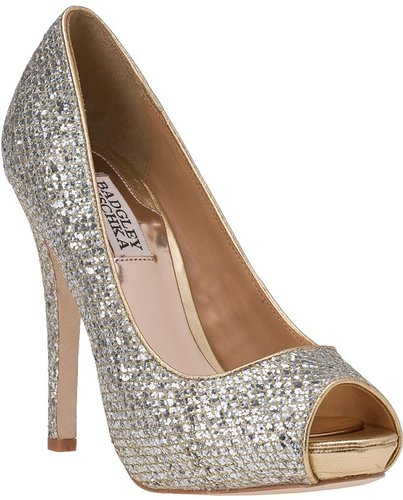 BADGLEY MISCHKA Humbie II Evening Pump Gold Silver Glitter