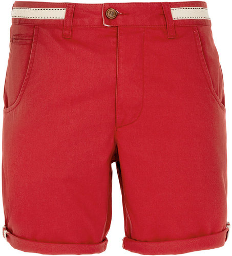 Red Chino Tape Detail Shorts