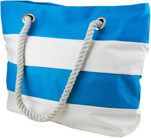 Azure Sky Aquamarine and White Striped Beach Bag