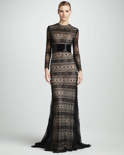 Naeem Khan Geometric-Lace Gown