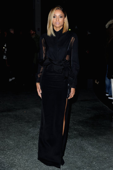 Ciara opted for a subtly sexy sheer sleeved and slit black ensemble at Givenchy.