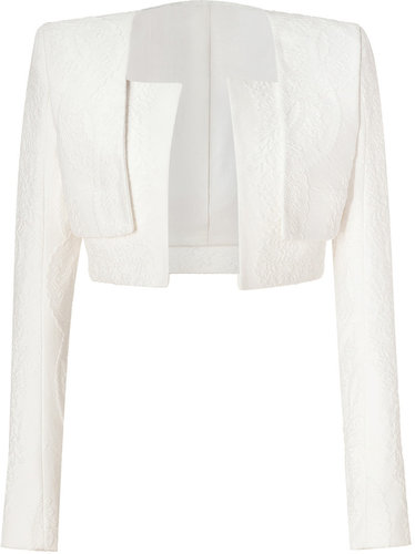Balmain Off White Cropped Cotton Blend Jacket