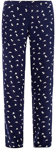 Theory Bird-print silk trousers