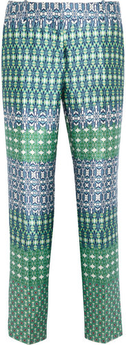 J.Crew Café printed wool and silk-blend Capri pants