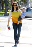 Jennifer Garner had Samuel on her hip to run errands in LA after celebrating his first birthday on Wednesday.