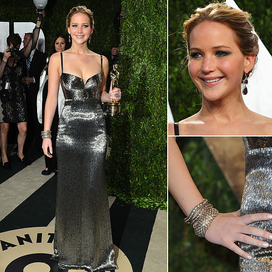 Jennifer Lawrence sparkled in her Calvin Klein afterparty gown.