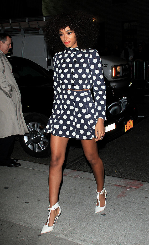Solange Knowles gave us a seriously chic take on polka dots in this Moschino coat, which she finished off with a sleek pair of Elizabeth and James heels.