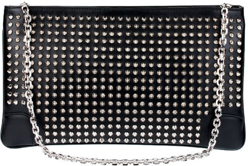 Christian Louboutin Loubiposh spikes leather clutch