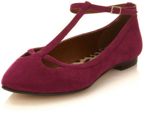 Elsie pink pointed t-bar flat