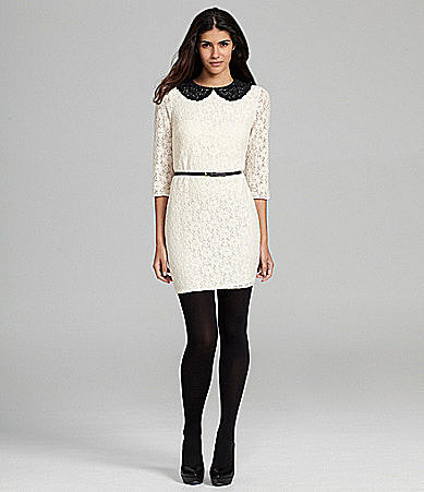 Chelsea & Violet Belted Lace Peter Pan Dress