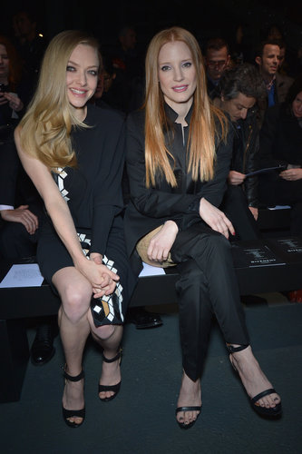 Jessica Chastain and Amanda Seyfried sat front row at Givenchy during Paris Fashion Week in March.