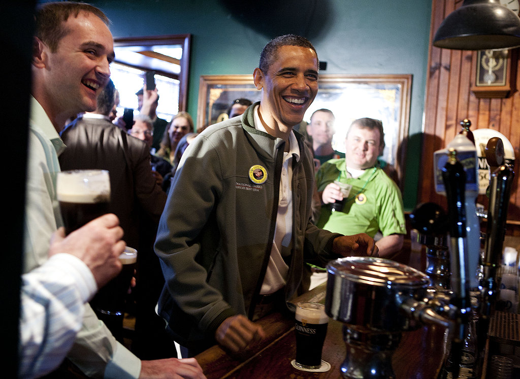 Barack Obama stopped by a bar to celebrate St. Patrick's Day in Washington DC in March 2012.