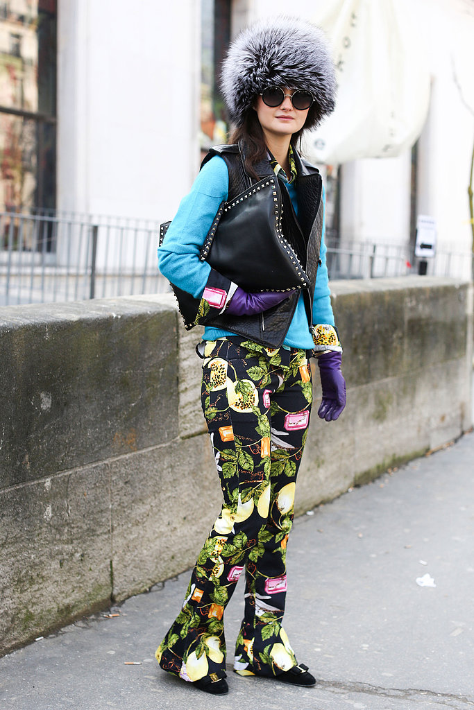 Fur, studs, brights, and print may seem like a lot, but this attendee pulled it all together.