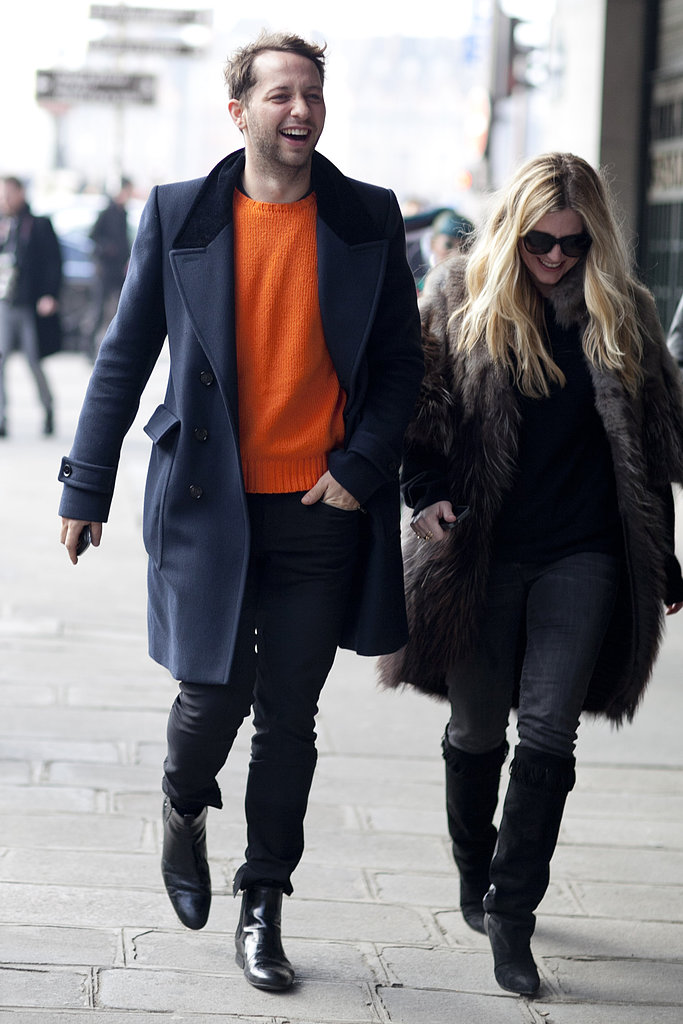 Derek Blasberg and a friend showed off effortless denim and great Winter outerwear.