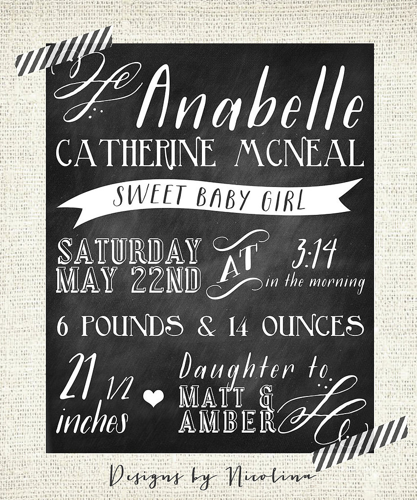 The Annabelle Chalkboard Custom Designed Nursery Poster Wall Art