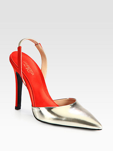 Giambattista Valli Metallic Leather & Satin Slingback Pumps