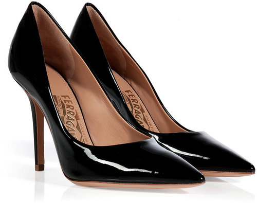 Salvatore Ferragamo Black Patent Leather Pointed Toe Susi Stilettos