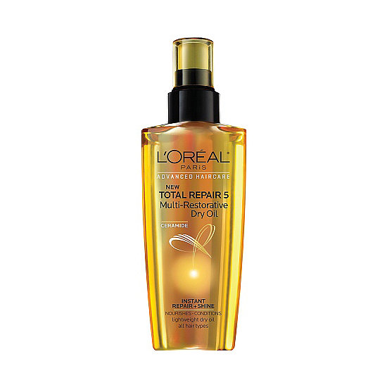 L'Oréal Total Repair 5 Multi-Restorative Dry Oil ($7) is the ultimate fly-away tamer. Apply the product to your hands before smoothing over hair for a high-shine finish.