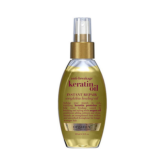 If your hair is prone to snapping midstrand, then reach for Organix Anti-Breakage Keratin Oil ($8) before the brush. The keratin proteins in this product actually strengthen strands to ward off breakage.
