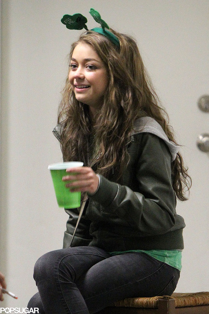 Sarah Hyland had a festive get-together in LA with friends for St. Patrick's Day in March 2012.
