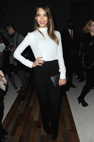 Jessica Alba posed inside the Valentino presentation during Paris Fashion Week in March.