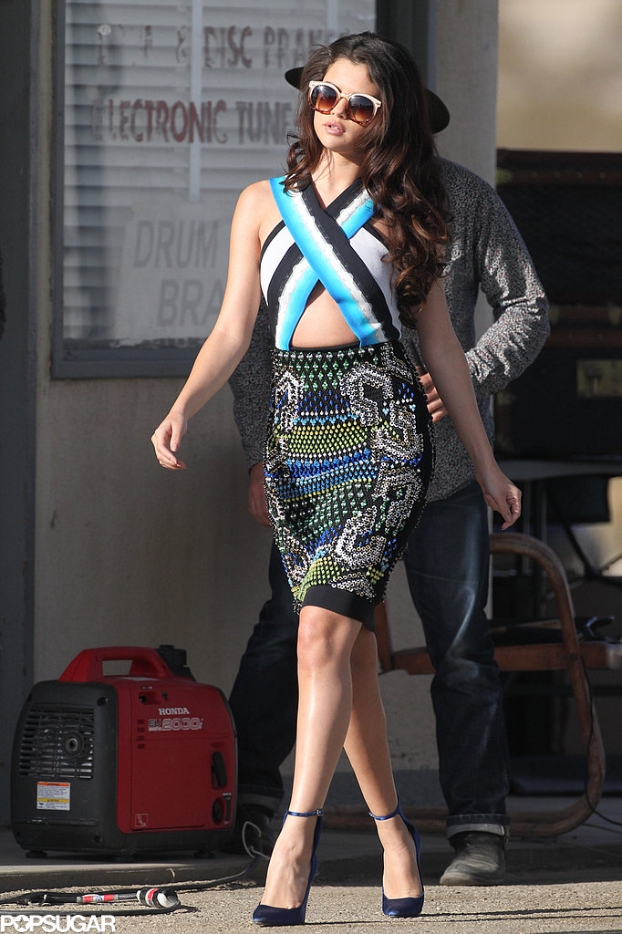 Selena Gomez strutted in a colorful frock.
