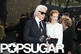 Jessica Chastain chatted with Karl Lagerfeld.