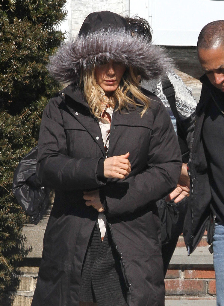 Jennifer Aniston was bundled up in Connecticut.