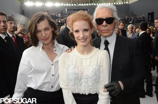 Milla Jovovich, Jessica Chastain, and Karl Lagerfeld joined up at the Chanel fashion show on Tuesday in Paris.