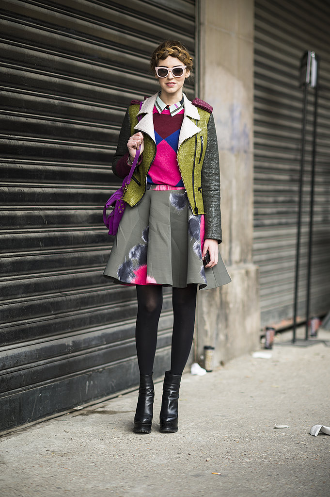 Bold pops of color made this skirt and top set pop. Source: Le 21ème | Adam Katz Sinding