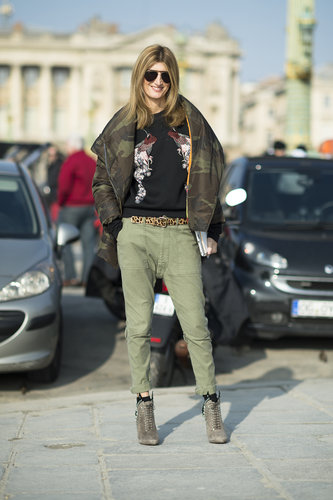 Army green trousers and a camo puffer made a perfect pair in this mix. Source: Le 21ème | Adam Katz Sinding