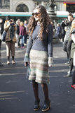 A knit sweater dress gave this look an eclectic, vintage vibe.