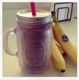 It seems there's no end to what a mason jar can be used for! In this case, it held the contents of a banana, blueberry, strawberry, whey protein, almond butter, and soy milk smoothie. Source: Instagram user cmhads